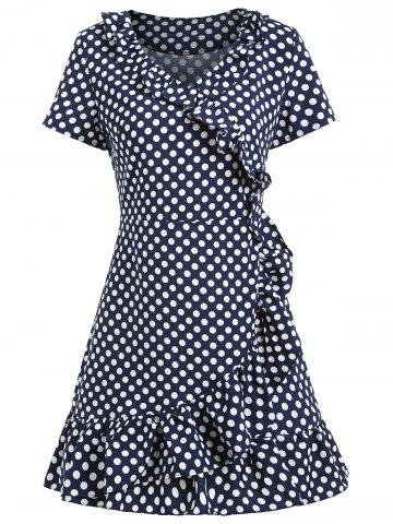 Affordable Polka Dot Ruffles Short Dress - M BLUE AND WHITE Mobile