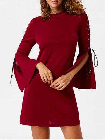 Chic Lace Up Flared Sleeve Mini Sheath Dress - XL WINE RED Mobile