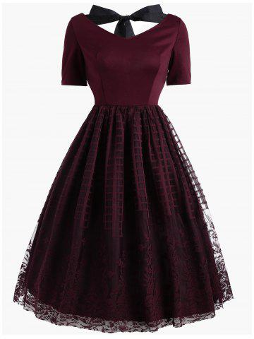 Online Vintage Bowknot Floral Plaid Lace Dress
