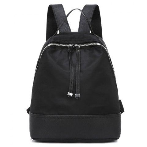 Online Zippers Nylon Faux Leather Insert Backpack BLACK
