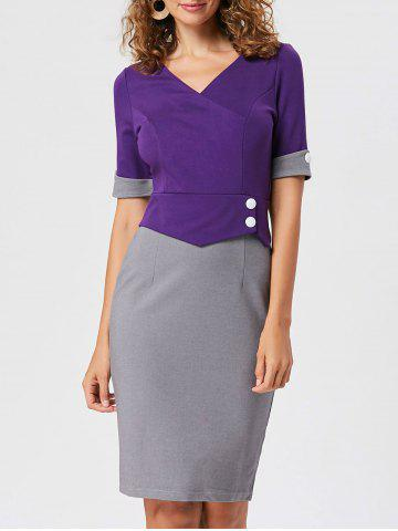 Unique Two Tone Work V Neck Bodycon Dress - XL PURPLE Mobile