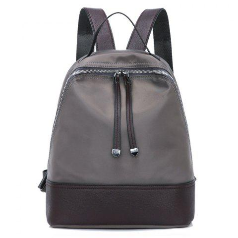 Fermeture à glissière Nylon Faux Leather Insert Backpack Gris