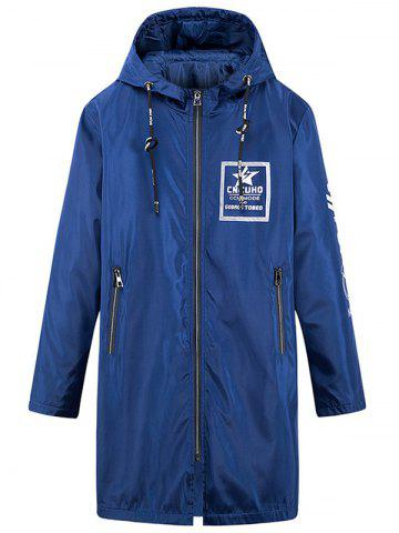 Outfits Zip Up Printed Hooded Longline Windbreaker Coat - 3XL BLUE Mobile