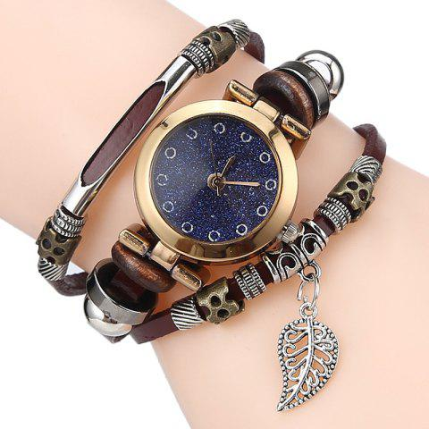 Buy Glitter Powder Face Leaf Charm Bracelet Watch