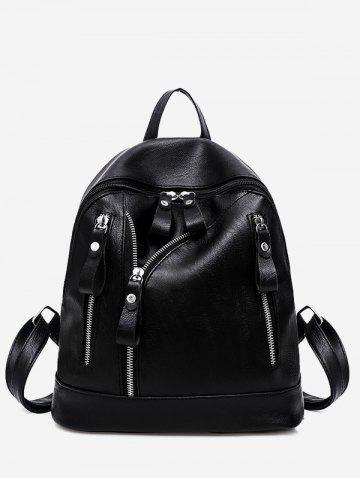 Discount PU Leather Zipper Backpack BLACK