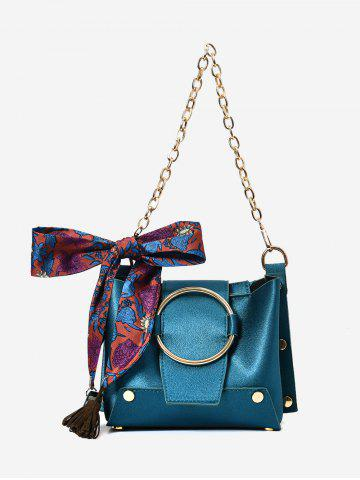Shop Scarf Metal Ring Shoulder Bag - BLUE  Mobile