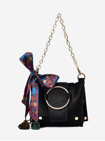 Trendy Scarf Metal Ring Shoulder Bag
