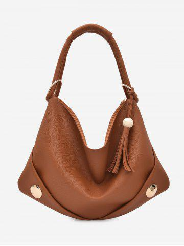 Unique Tassel Zipper PU Leather Shoulder Bag BROWN