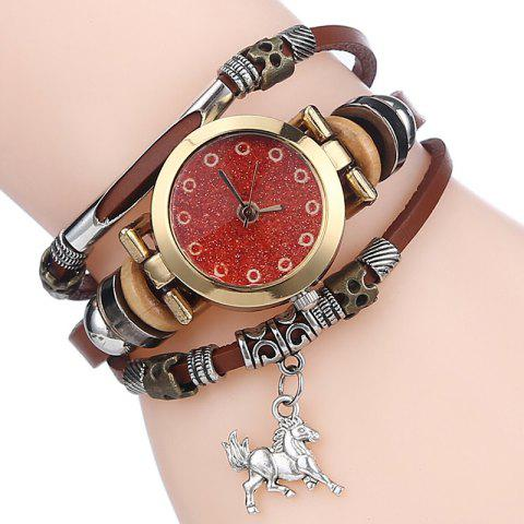 Affordable Glitter Powder Face Horse Charm Bracelet Watch - LIGHT COFFEE  Mobile