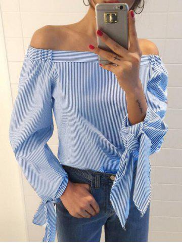 New Off The Shoulder Bowknot Sleeve Striped Blouse - M LIGHT BLUE Mobile