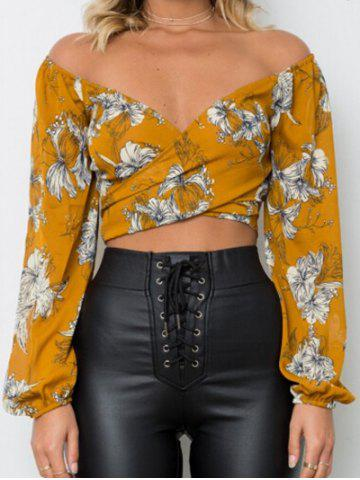 Cropped Floral Wrap Top