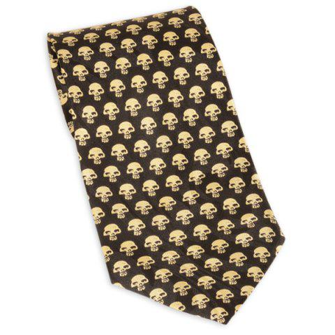 Full Skull Print 10CM Largeur Cravate Jaune