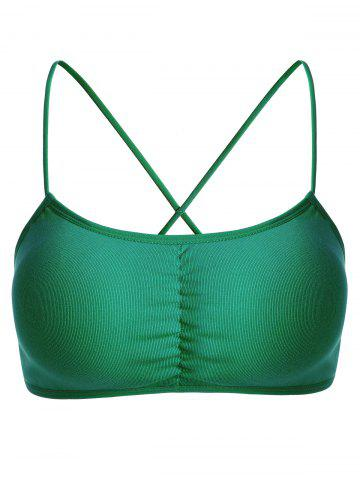 Discount Strappy Cross Back Bra GREEN ONE SIZE