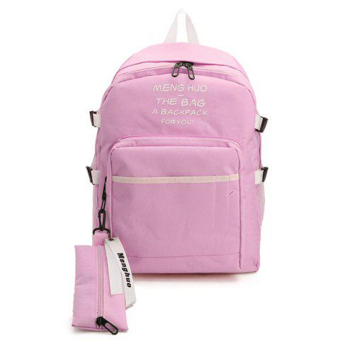 Latest Nylon Color Block 2 Pieces Backpack Set - PINK  Mobile