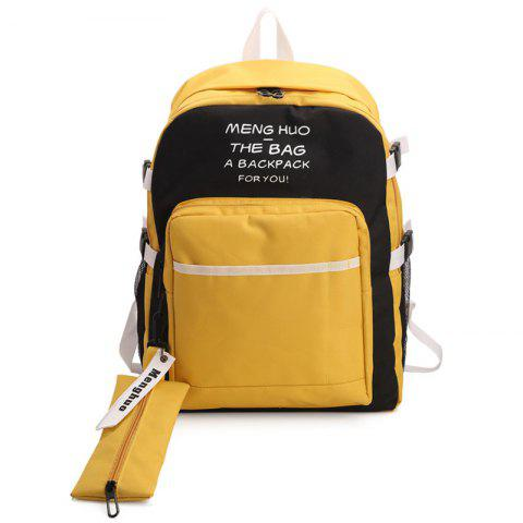 Outfits Nylon Color Block 2 Pieces Backpack Set - YELLOW  Mobile