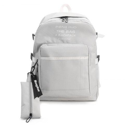 New Nylon Color Block 2 Pieces Backpack Set GRAY