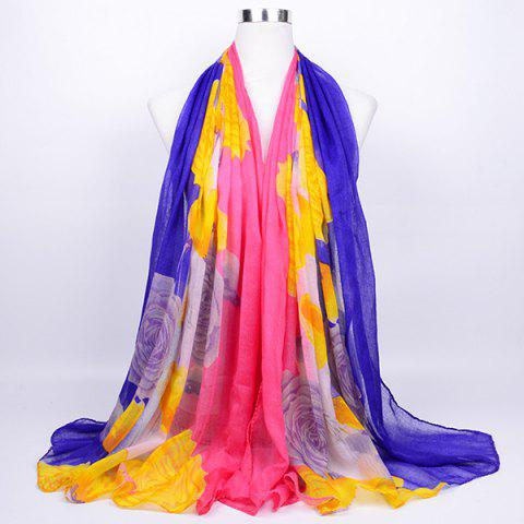 Flower Print Color Block Echarpe Wrap Voile