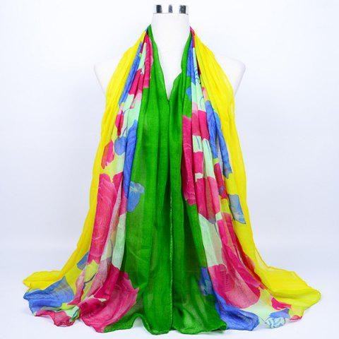 Flower Print Color Block Echarpe Wrap Voile VERT JAUNE