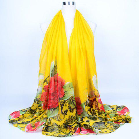 Chic Flower Leaf Print Voile Wrap Scarf YELLOW