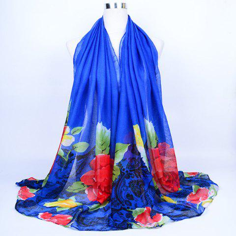 Latest Flower Leaf Print Voile Wrap Scarf