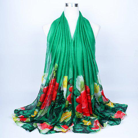 Outfits Flower Leaf Print Voile Wrap Scarf