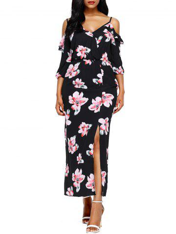 Sale Slit Floral Open Shoulder Maxi Dress BLACK L