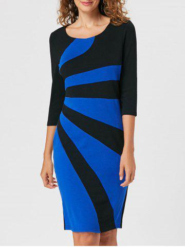 Cheap Work Color Block Bodycon Dress - XL BLUE Mobile