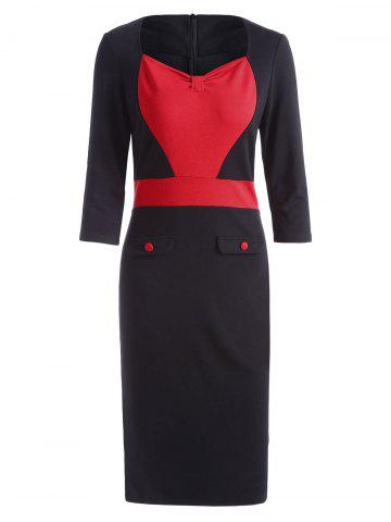 Trendy Sweetheart Neck Two Tone Formal Bodycon Dress - S RED Mobile
