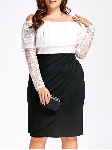 Latest Lace Plus Size Off Shoulder Two Tone Sheath Dress