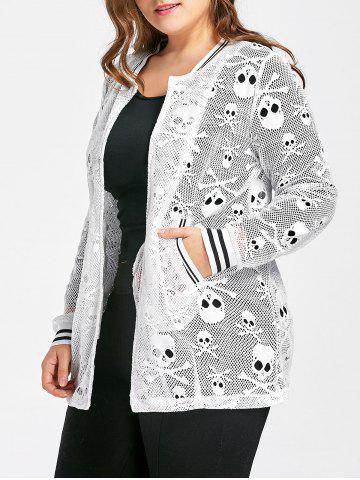 Shop Plus Size Openwork Halloween Skull Jacket - 5XL WHITE Mobile