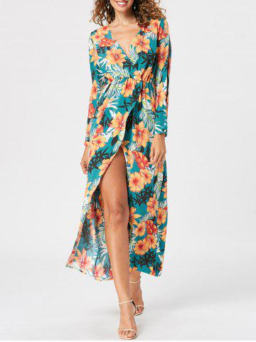 Cheap Slit Sleeve Floral Overlap Surplice Dress LAKE GREEN L