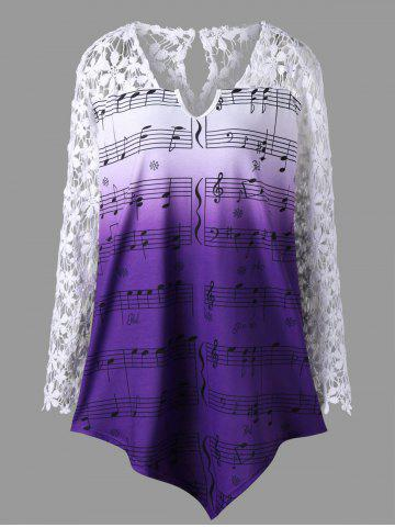 New Plus Size Lace Trim Music Notes Print Top - 2XL DAHLIA Mobile