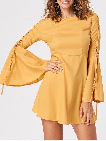 Outfits Bell Sleeve Lace Up Skater Dress YELLOW M