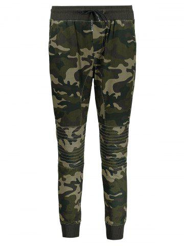Cheap Camo Print Drawstring Jogger Pants - 4XL ARMY GREEN Mobile