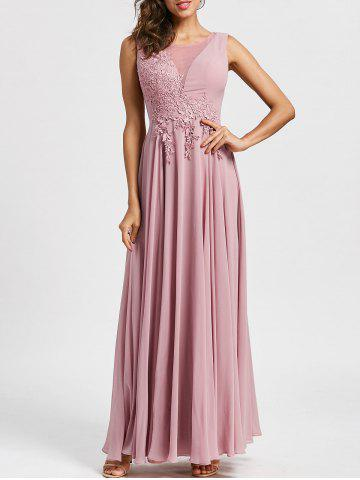 Fancy Lace Up Mesh Insert Floral Applique Evening Dress - 2XL LIGHT PINK Mobile
