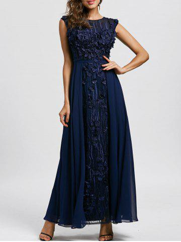 Online Floral Applique Sleeveless Maxi Evening Dress