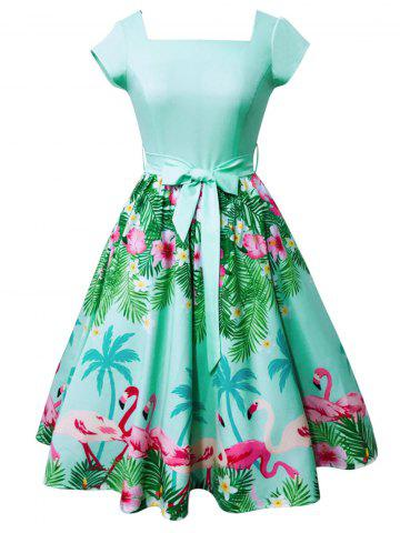 Flamingo et Floral Print Square Neck Vintage Dress Vert M