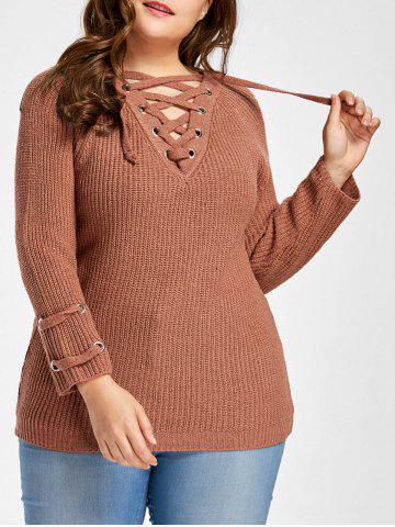 Pull à Lacets Manches Raglan Grande Taille