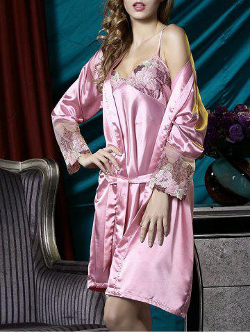 Shops Satin Embroidered Slip PJ Dress with Robe CARNATION L