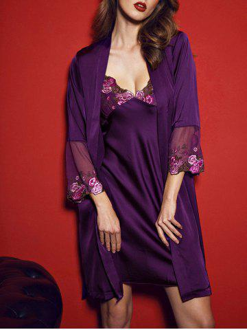 Satin Slip PJ Dress with Wrap Robe Pourpre L
