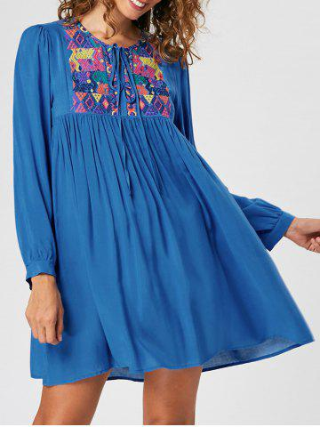 New Embroidered Long Sleeve Babydoll Dress - XL BLUE Mobile