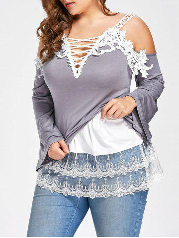 Online Plus Size Layered Sheer Lace Extender Skirt WHITE 5XL