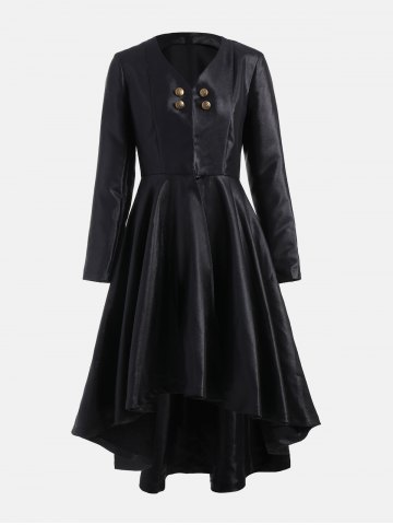 Affordable High Low One Clasp Flared Coat BLACK S
