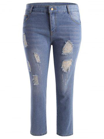 Buy Zipper Fly Distressed Plus Size Jeans