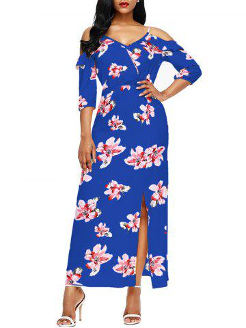 Outfits Slit Floral Open Shoulder Maxi Dress