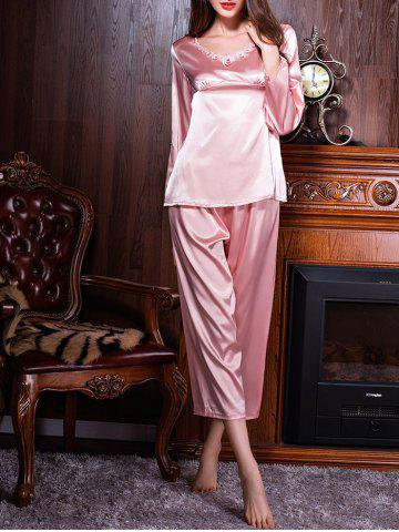 Fashion Long Sleeves Satin Sleepwear Set