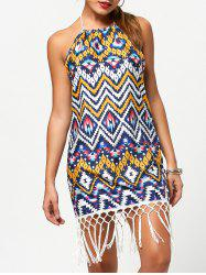 Bohemian Halter Floral Print Fringe Splicing Sleeveless Dress For Women -