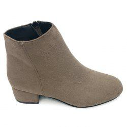 Side Zipper Faux Suede Ankle Boots -