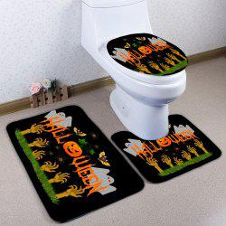3PCS Halloween Ghost Pumpkin Toilet Bath Rugs Set - Noir