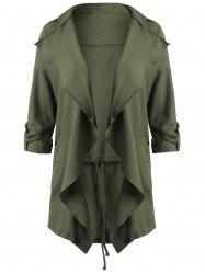 Drape Plus Size Lapel Waterfall Coat -